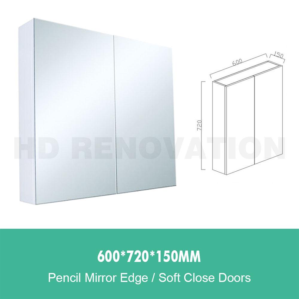600//750//900//1200//1500*720*150mm Mirror Shaving Cabinet PVC Timber Look Oak