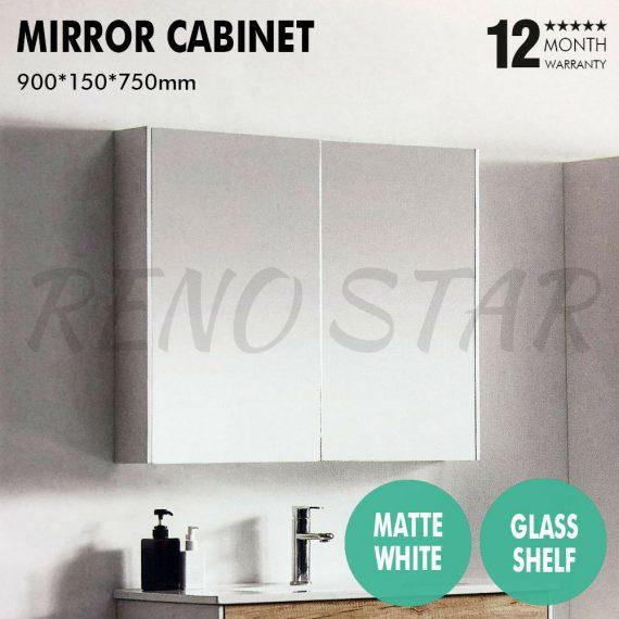 900*720*150mm Mirror Shaving Cabinet Pencil Edge 2 Door Soft Close Timber Shelf
