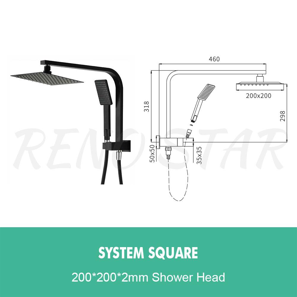 Black Shower Rail Head Hand Set Durable for Bathroom Shower Room Modern design
